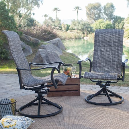 Belham Living Charter All-Weather Wicker Outdoor Swivel Rocker - Gray - Set of