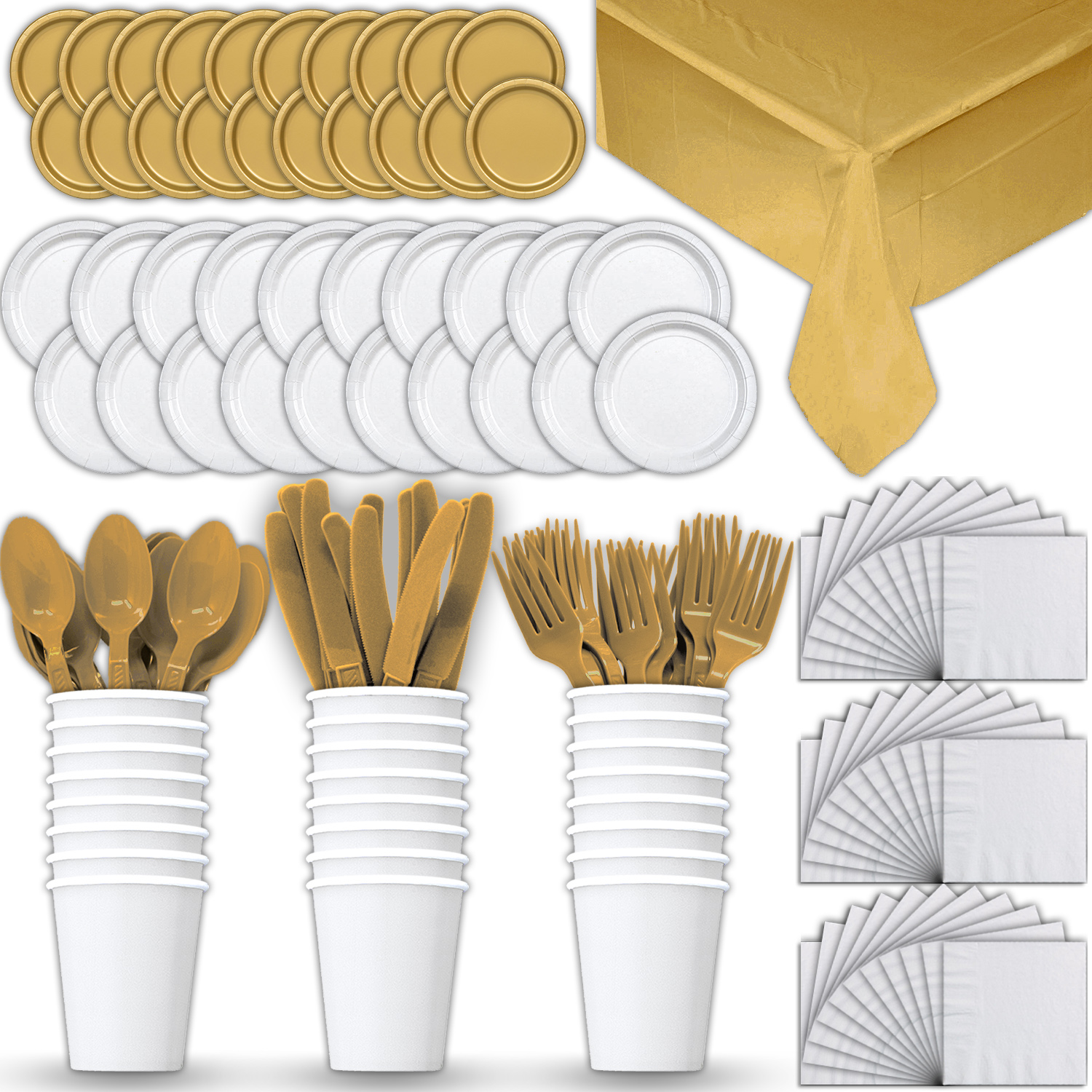 Paper Tableware Set for 24 - White & Gold - Dinner and Dessert Plates, Cups, Napkins, Cutlery (Spoons, Forks, Knives), and Tablecloths - Full Two-Tone Party Supplies Pack