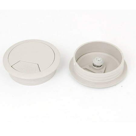 Deals 53mm Gray Plastic Desktop Computer Cable Cover Grommet Organizer Shell 2 Pcs Before Special Offer Ends