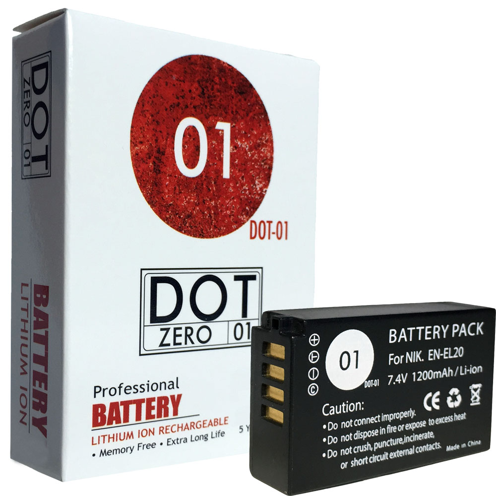 DOT-01 Brand 1200 mAh Replacement Nikon EN-EL20 Battery for Nikon 1 S1 Digital Camera and Nikon ENEL20