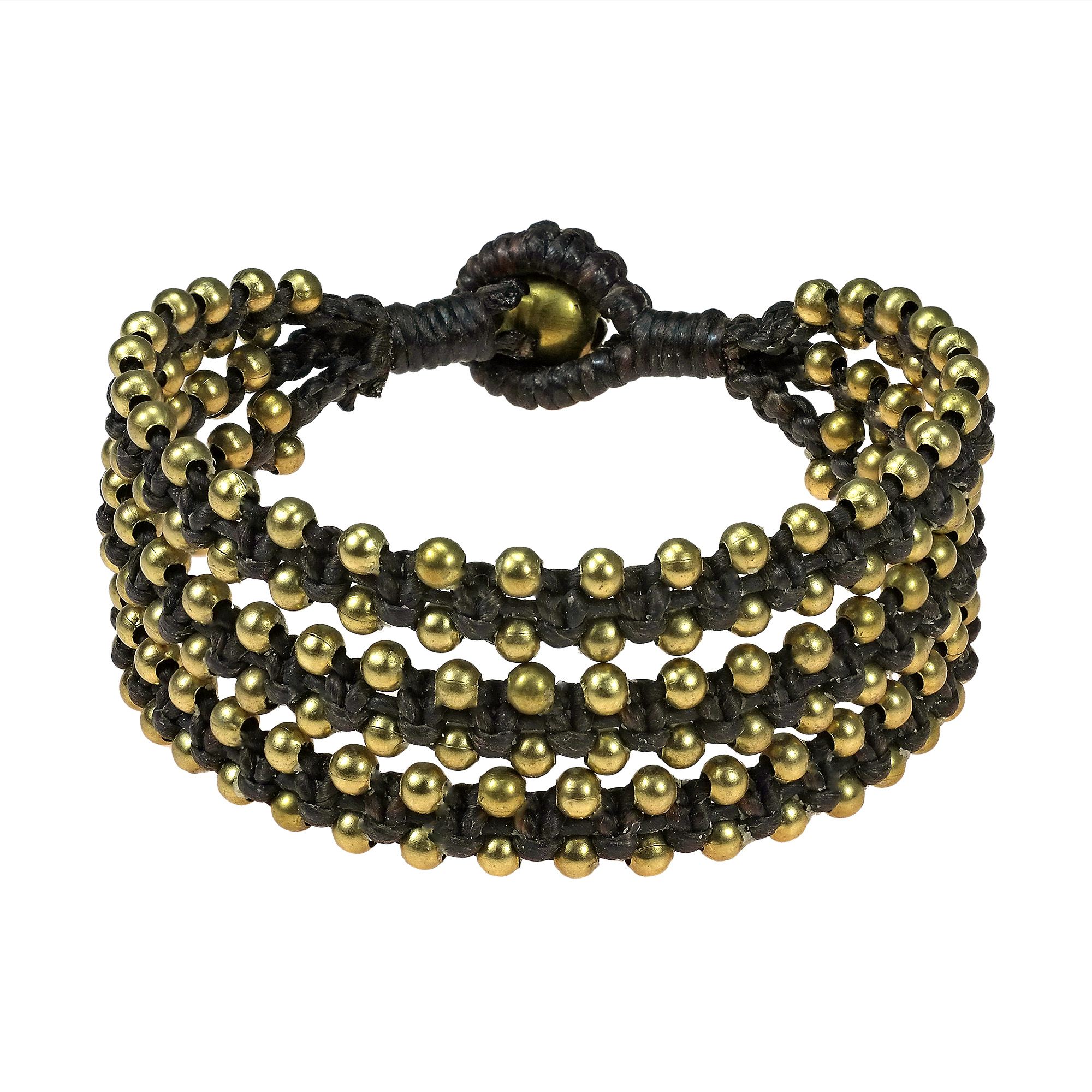 Organic Beauty Fashion Brass Beads Triple Strand Bracelet