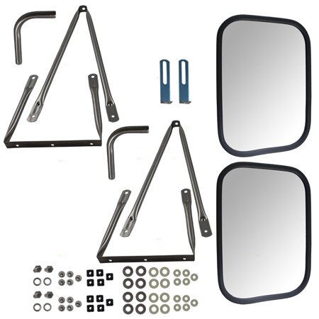 Set Universal Camper Tow Mirrors Stainless Steel w/ Long Bracket Replacement for Chevy GMC Blazer Jimmy Suburban Pickup Truck 998905