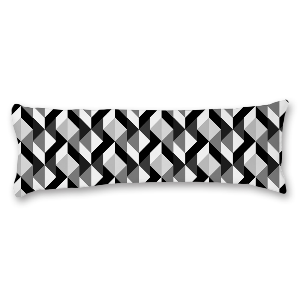 """3D Chevron Rectangles Grey Black White Maternity Double Side Print 20"""" * 54"""" Pregnancy Long Body Pillow Cover Cotton Polyester Blend Protector Case"""