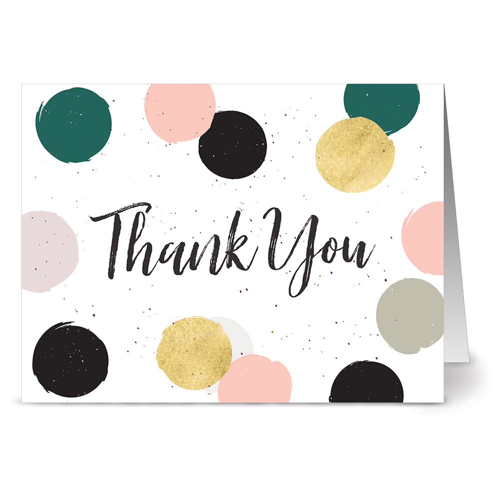 24 Note Cards - Dabs and Dots Thank You - Blank Cards - Gray Envelopes Included