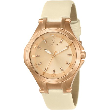 Invicta Womens Gabrielle Union Beige Leather Band Steel Case Quartz Rose Gold Tone Dial Watch 23254
