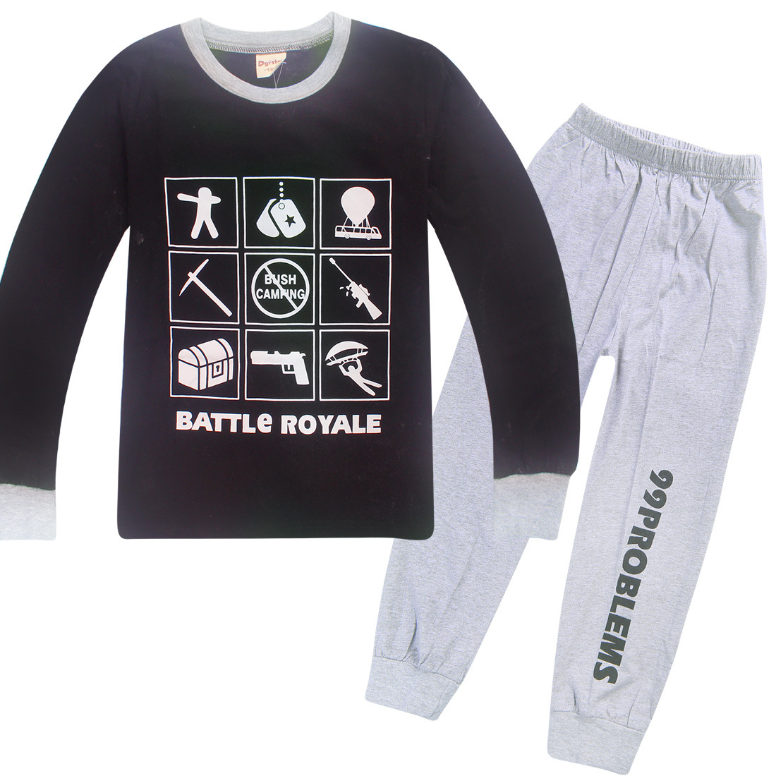 """Boys Children Fortnite Suit """"BATTLE ROYALE"""" Graphic Set Casual Long Sleeve Tee Shirt And Pants"""