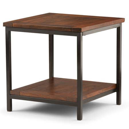 Brooklyn + Max Glenna Solid Mango Wood and Metal 22 inch Wide Square Modern Industrial End Side Table in Dark Cognac
