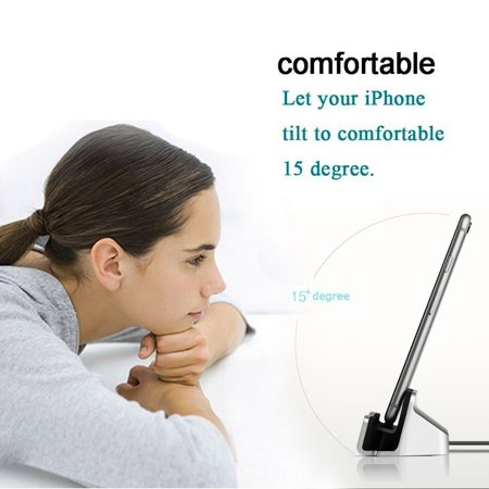IPhone Charger Dock Cradle Desktop Stand with Lightning Cable Connector for Charge and Sync Data of Apple iPhone 7/7 Plus/ 6/6s/6 Plus/6s Plus/iPod Nano 7th Gen/iPod Touch 5,6th Gen (Silver) (Ipod Dock Lightning Connector)