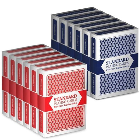 12 Decks (6 Red/6 Blue) Wide-Size, Regular Index Playing Cards Set – Plastic-Coated, Classic Poker Size, VALUE PACK: Set of 12 Casino Special No. 99 playing cards.., By Brybelly](Casino Playing Cards)
