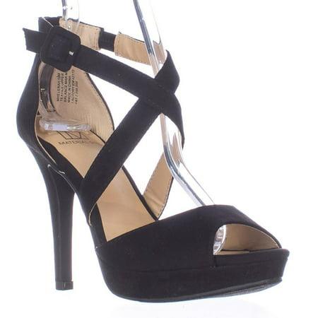 (Womens MG35 Helenah Cross Strap Peep Toe Platform Heels, Black)