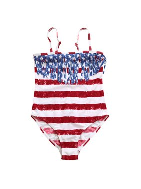 2943a3c838a Product Image Children Girls Bikini Beach Star Print Fringe One-piece  Swimsuit Swimwear Set