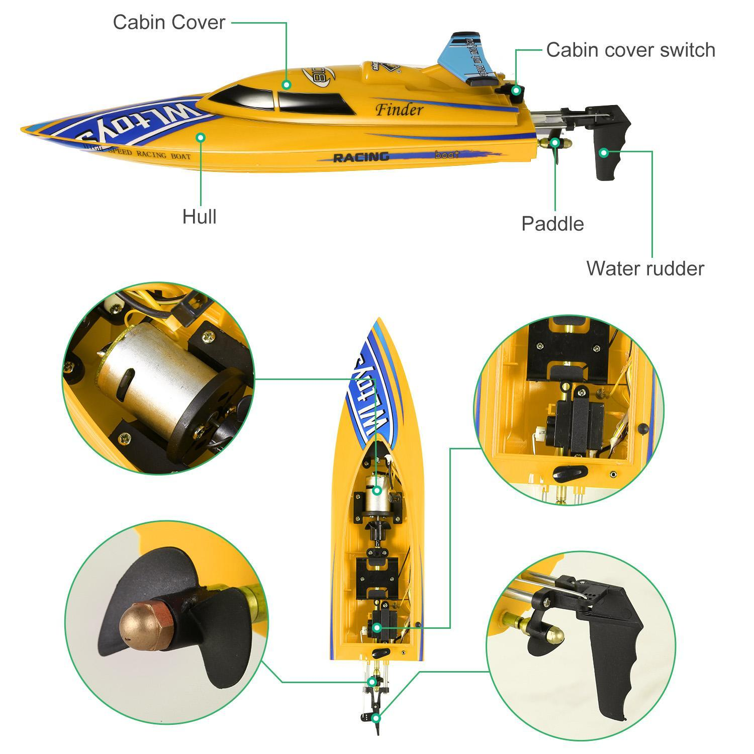 Waterproof Electric RC Racing Boat 2.4G Remote Controlled High Speed Watercraft for Pools Lakes by