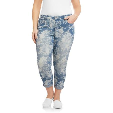 Faded Glory Women's Plus Print Boyfriend Crop Jeans