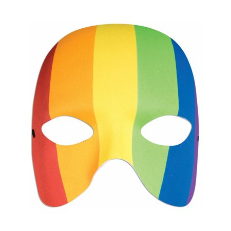 Adult Rainbow Colored Carnival Clown Half Mask Costume Accessory
