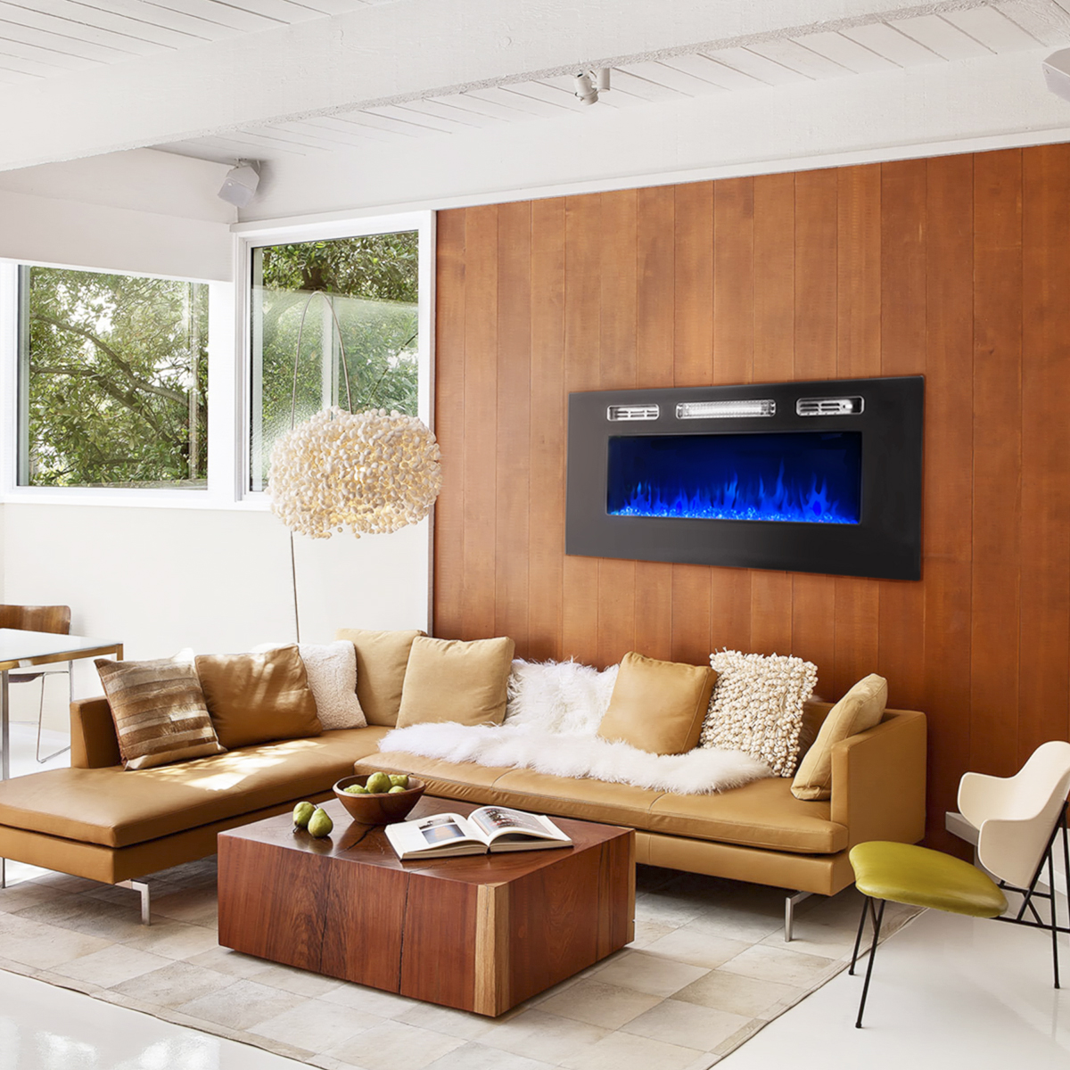 """XtremepowerUS 40"""" 1501W In-Wall Recessed Electric Fireplace Heater w/Remote Control"""