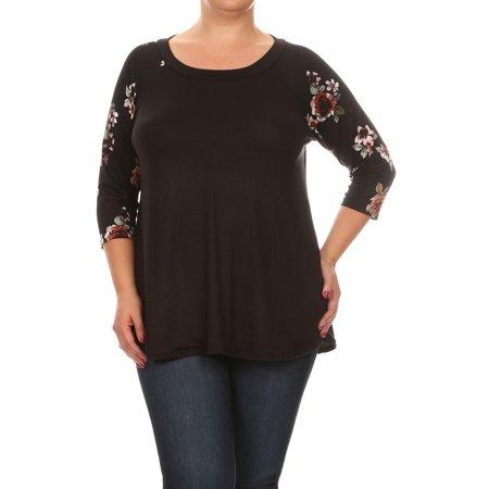 a423c6db52d NMC - Women's PLUS trendy style ,raglan contrast sleeves solid body top -  Walmart.com