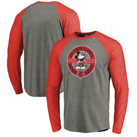 Calgary Flames Rocks - Calgary Flames Fanatics Branded Disney Mickey True Original Seal Long Sleeve Tri-Blend Raglan T-Shirt - Heathered Gray