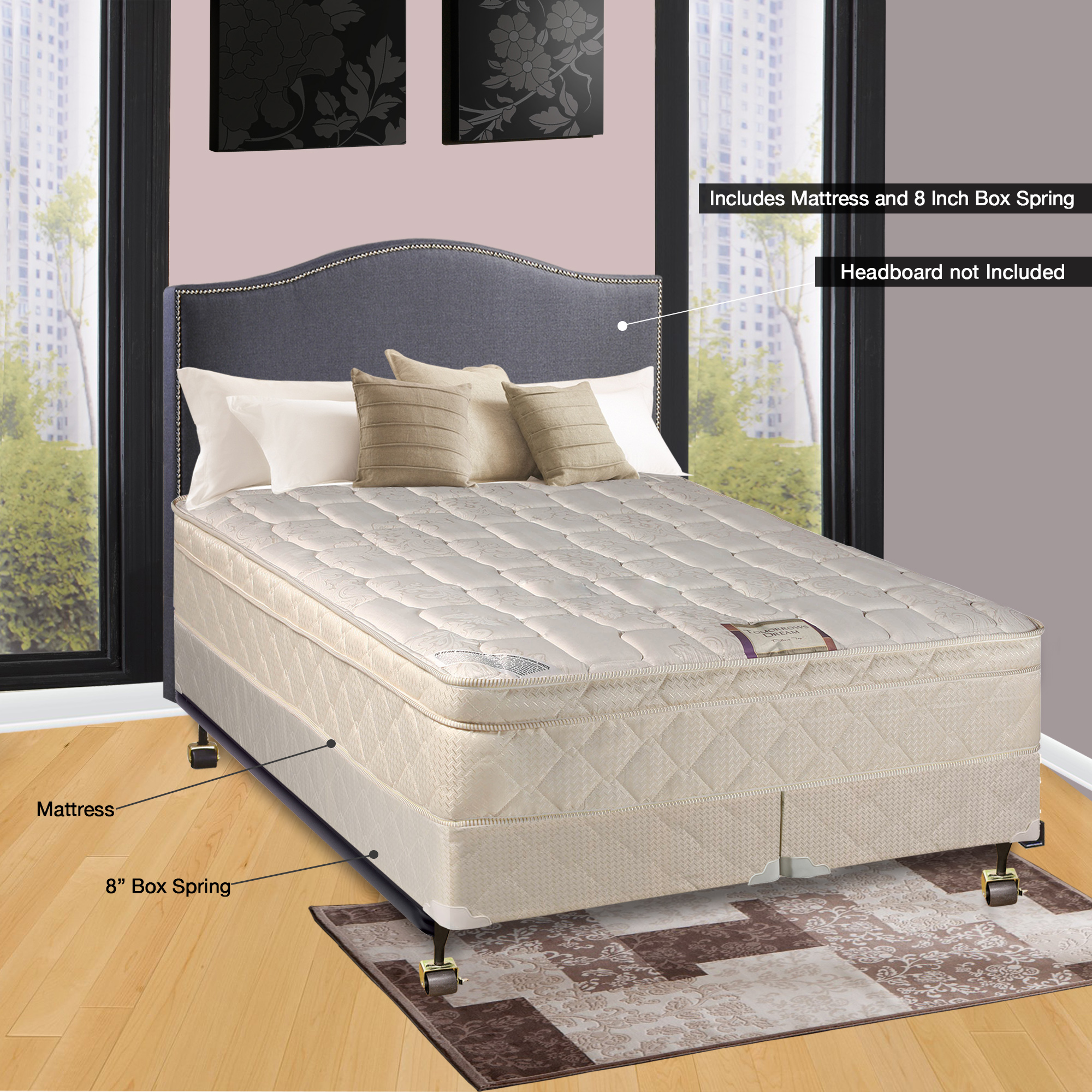 "Spinal Solution 9"" Pillowtop Fully Assembled Orthopedic Mattress and Split Box Spring, King"