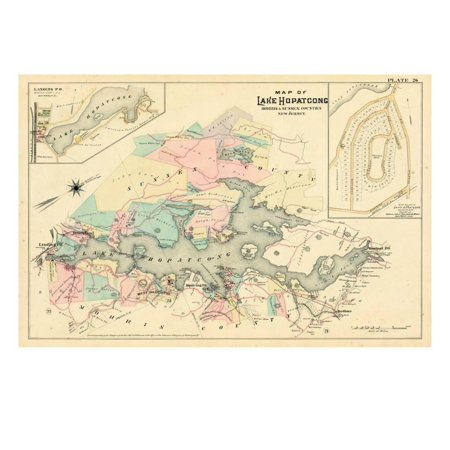 1887, Lake Hopatcong, Morris, Sussex Counties, Landing, New Jersey, United States Print Wall Art - Lake County Wall Map