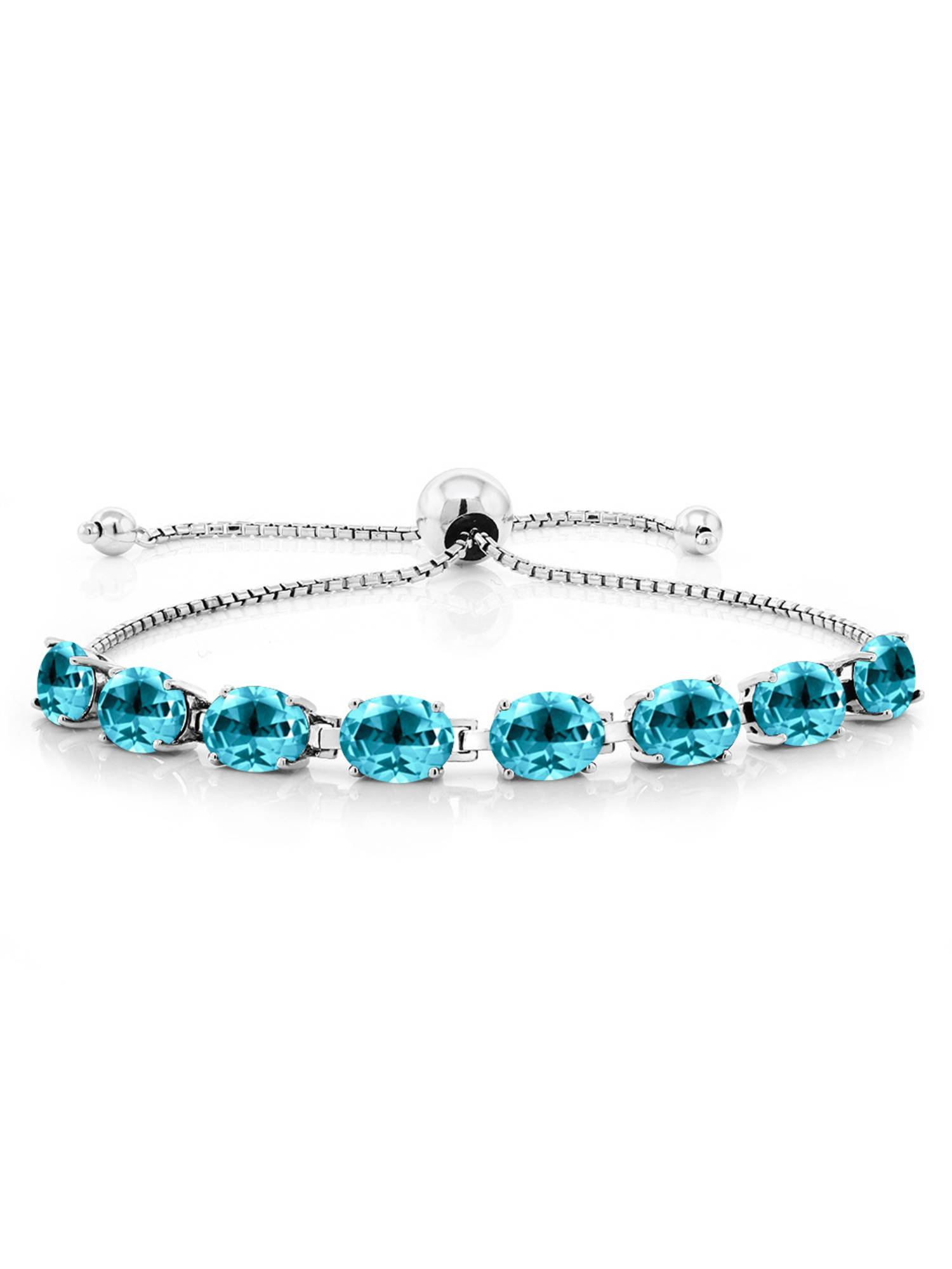 10.56 Ct Paraiba 925 Sterling Silver Bracelet Topaz Cut by Swarovski by
