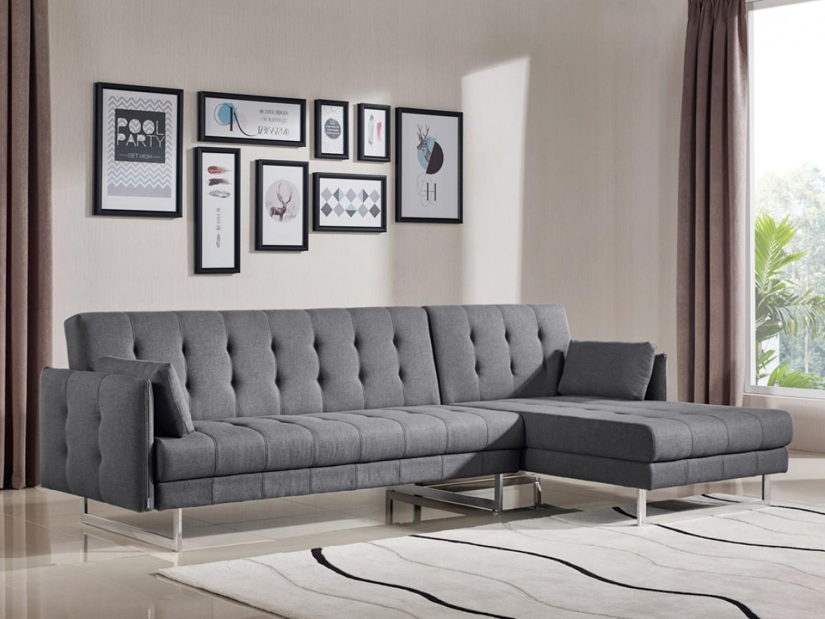 Etonnant Divani Casa Lennox Modern Grey Fabric Sectional Sofa Bed Contemporary VIG    Walmart.com