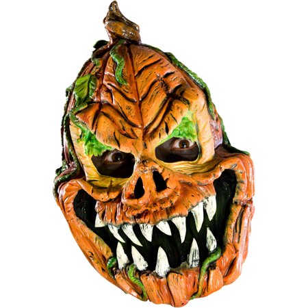 Adult's Psycho Scary Evil Pumpkin Vinyl Costume Mask (Scary Halloween Pumpkin Eyes)