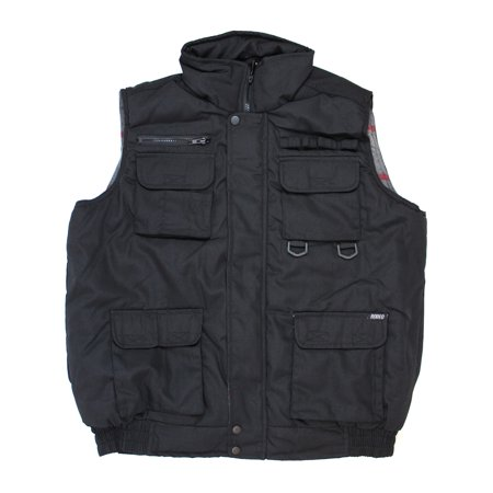 Black Mens Winter Outdoor Cotton Padded Waterproof Vest Multi Pocket - Bullet Proof Vest Halloween