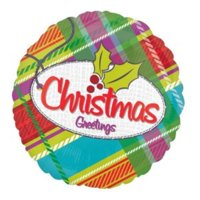 "18"" Plaid Christmas Greeting Balloon"