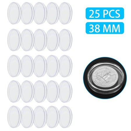 TSV 25Pieces Coin Capsules Round Transparent Plastic Coin Holder Case with Storage Organizer Box for Coin Collection Supplies (38mm)