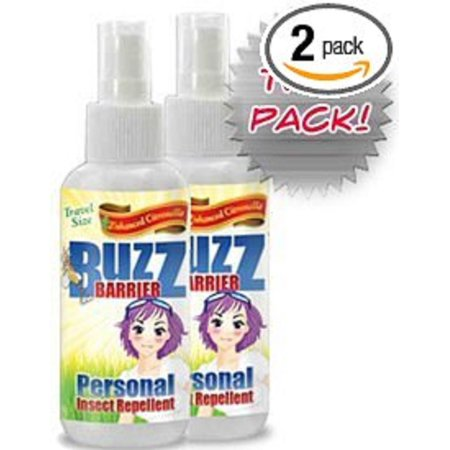 Midge Flies - Buzz Barrier Travel Size (2-Pack) Personal Insect Repellent with Enhanced Citronella - Keeps Mosquitos, Biting Flies and Midges Away Safely and Effectively Deet Free