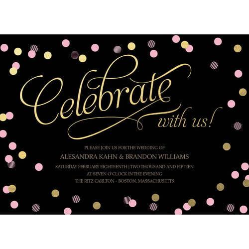 Confetti Celebration Standard Wedding Invitation
