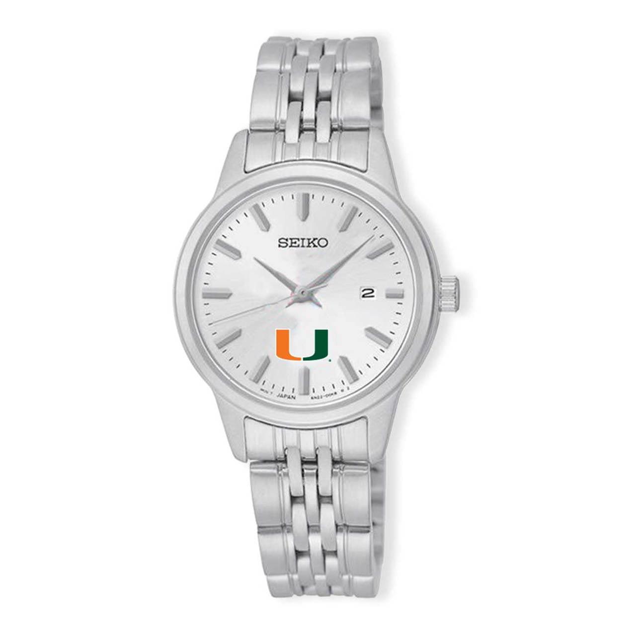 Miami Hurricanes Seiko Women's Analog  Quartz Silver Tone Dial Stainless Steel Watch
