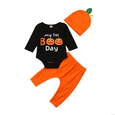 Group Halloween Outfits Ideas (Goocheer Newborn Infant Toddler Baby Boy/Girl Halloween Clothes Pumpkin Long Sleeve Bodysuit Romper + Long Pants Trousers + Hat)