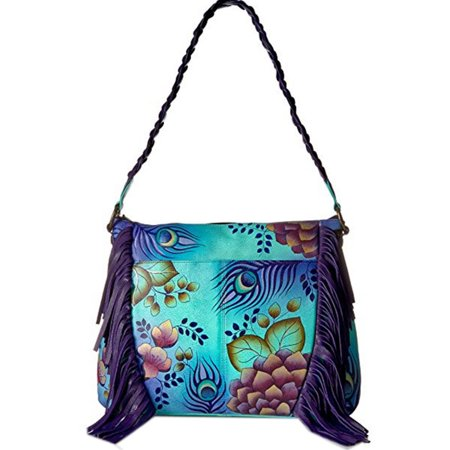 Anuschka Anna Hobo Handbag Hand Painted Design on Real Leather Purse with Purse Holder, Fringed Peacock - Anuschka Peacock