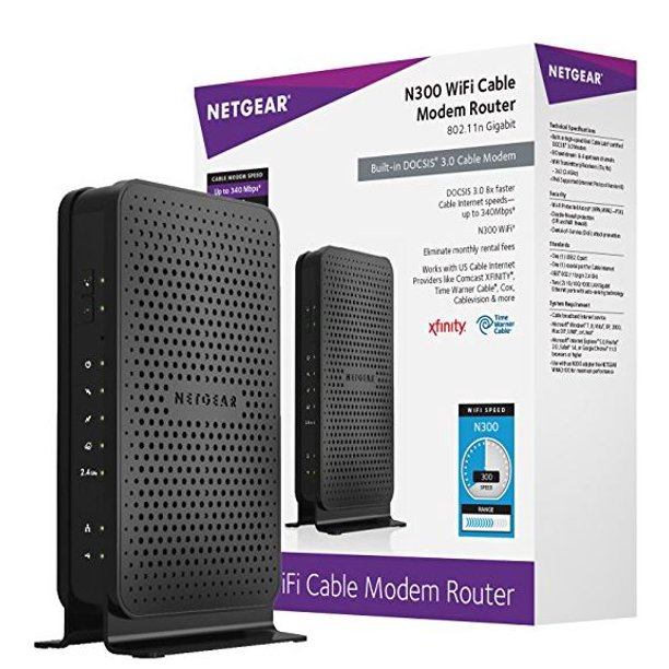 Netgear N300 8x4 Wifi Cable Modem Router Combo C3000 Docsis 3 0 Certified For Xfinity By Comcast Spectrum Cox More C3000 Walmart Com Walmart Com
