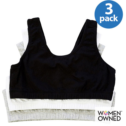 Fruit of the Loom - 3-Pack Girls' Assorted Built-Up Sport Bras