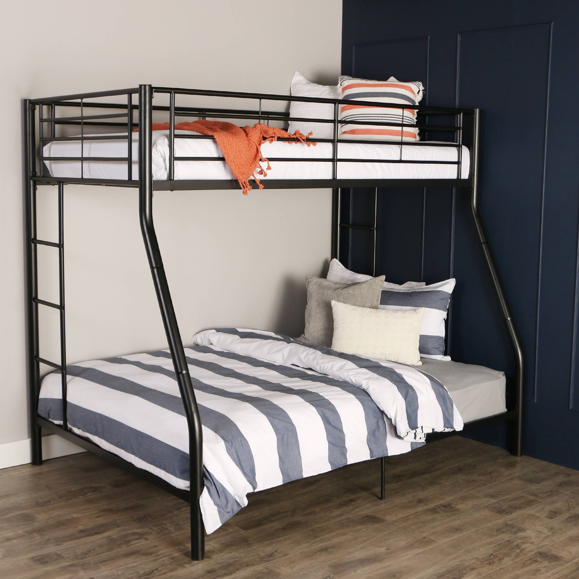 Premium Black Metal Twin-Over-Full Bunk Bed, Multiple Colors