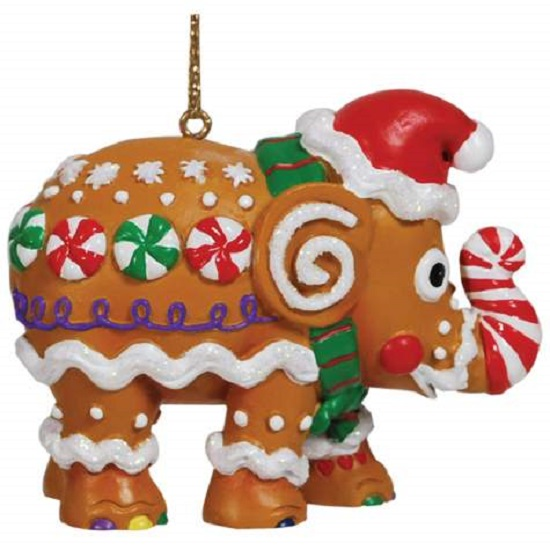 Elephant Parade Gingerbread Holiday Themed Elephant Hanging Christmas Ornament