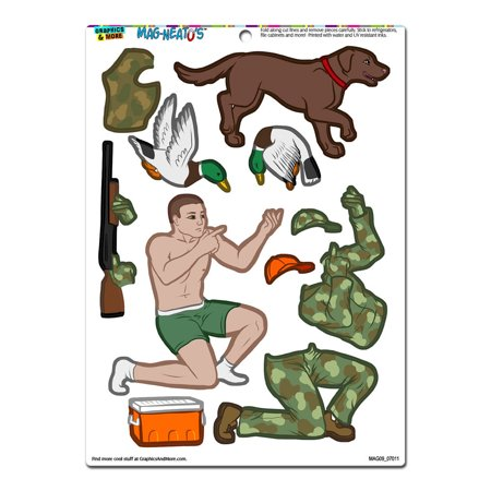 Duck Hunter Dress-Up - Hunting Dog Camouflage Funny MAG-NEATO'S(TM) Refrigerator Magnet](Dogs Dressed Up Funny)
