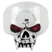 Sterling Silver Vampire of Hell Garnet Cubic Zirconia Eyes Skull Ring 12