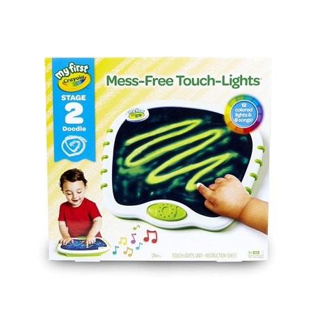Crayola My First Mess Free Touch Lights Musical Doodle Board Stage 2 for Toddlers 24+ Months