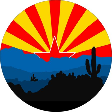 Tire Cover Central Arizona flag flag with silhoette of desert spare tire cover fits center mounted backup camera openings 255/70r18 with back up camera opening Designer Tire Cover Flag
