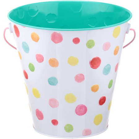 Easter Large Tin Pail Dots - Easter Pails