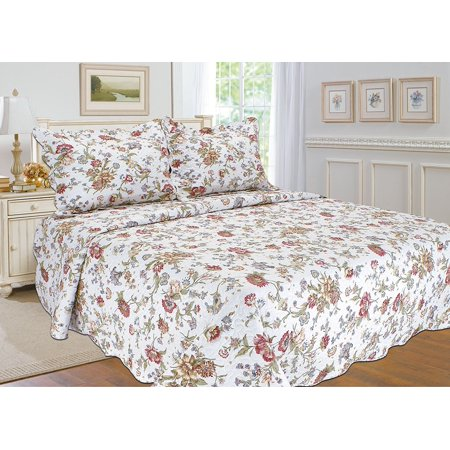 "All for You 3pc Reversible Embroidered SUPREME 100% cotton Quilt Set, Bedspread, and Coverlet with Flower Prints -king size-red blue white color (king 90""x 100"" with 2 standard pillow sham)"