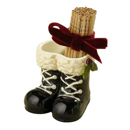 Pressed Glass Toothpick (Merry Christmas Party Supplies Glass Black Boots White Laces Toothpick Holder, Holiday decoration assorted toothpick holders By Grasslands)