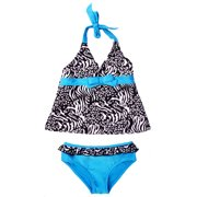 Pink Platinum Baby Girls Swimwear Zebra Two Piece Tankini Swimsuit