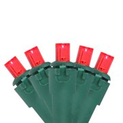 """Set of 100 Red LED Wide Angle Christmas Lights 4"""" Spacing - Green Wire"""