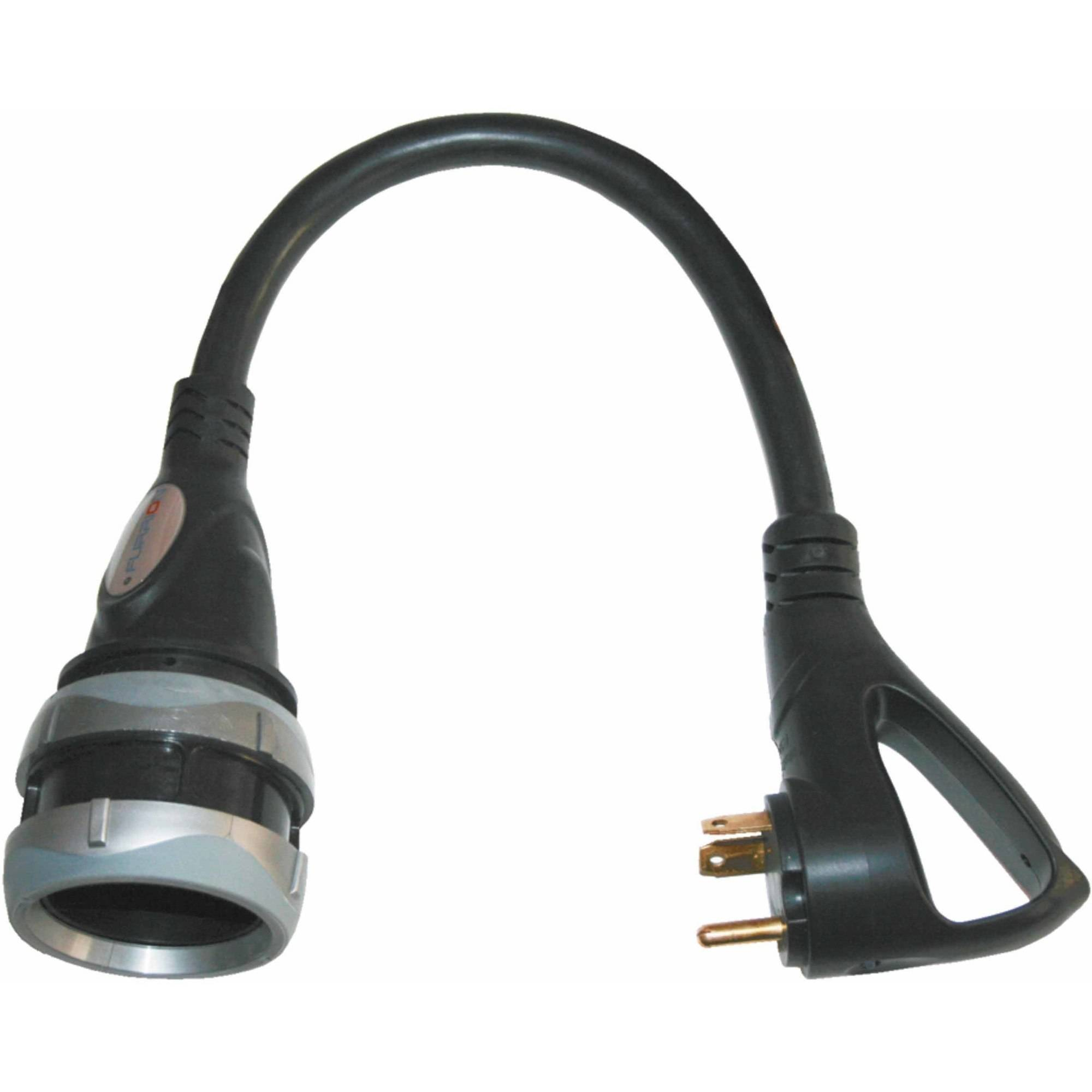 Furrion 50 Amp 125/250V Locking (F) To 30 AMP RV (M) Pigtail Adapter with Faultsmart LED, Black