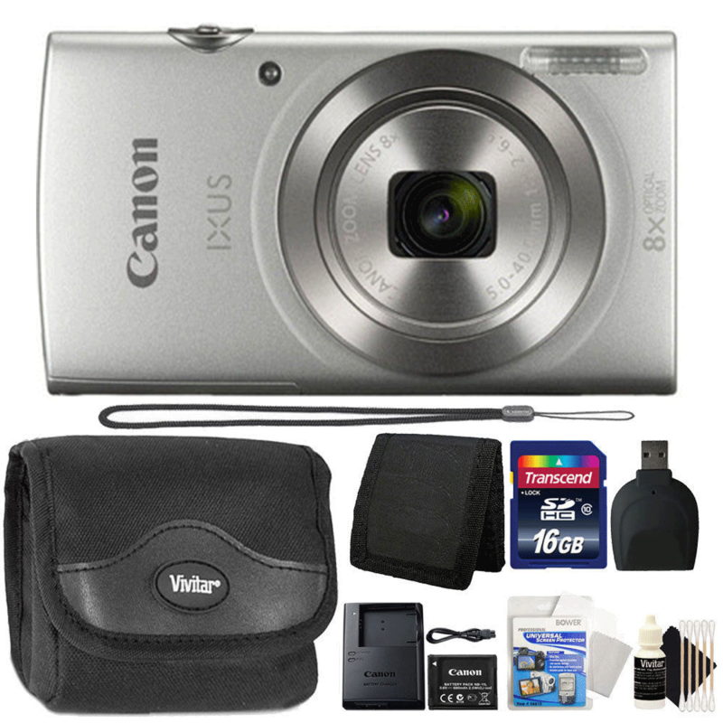 Canon Ixus 185 / Elph 180 20MP Digital Camera Silver with 16GB Complete Accessory Kit