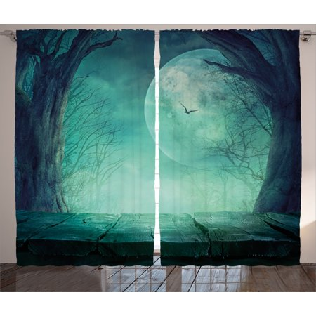 Halloween Decorations Curtains 2 Panels Set, Spooky Forest Moon and Vain Branches Mystical Haunted Horror Rustic Decor, Window Drapes for Living Room Bedroom, 108W X 90L Inches, Teal, by Ambesonne - Halloween Window Panels